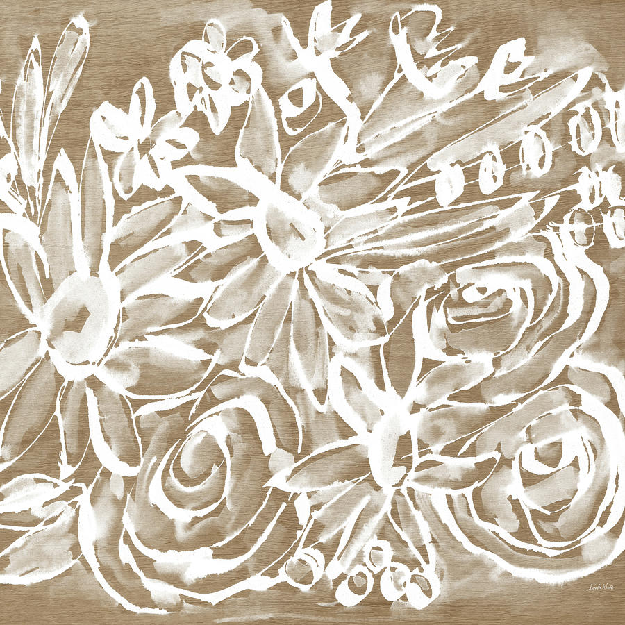 Wood Mixed Media - Wood And White Floral- Art By Linda Woods by Linda Woods