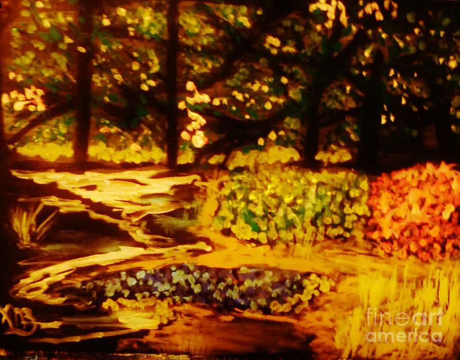 Landscape Painting - Wood At Night by Marie Bulger