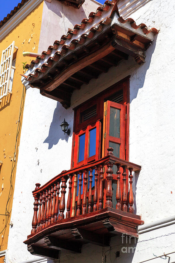 Wood Balcony Photograph - Wood Balcony In Cartagena by John Rizzuto