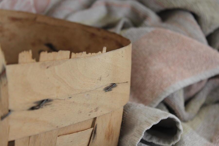 Towel Photograph - Wood Basket Dirty Towel by Marina Vatsco