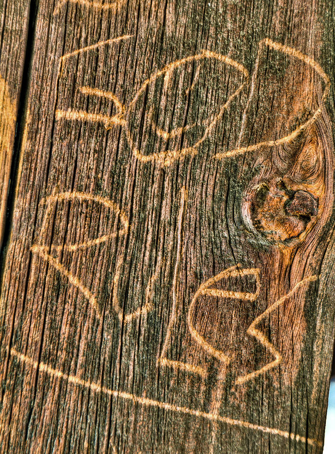 Abstract Photograph - Wood Carving God Rules by Connie Cooper-Edwards