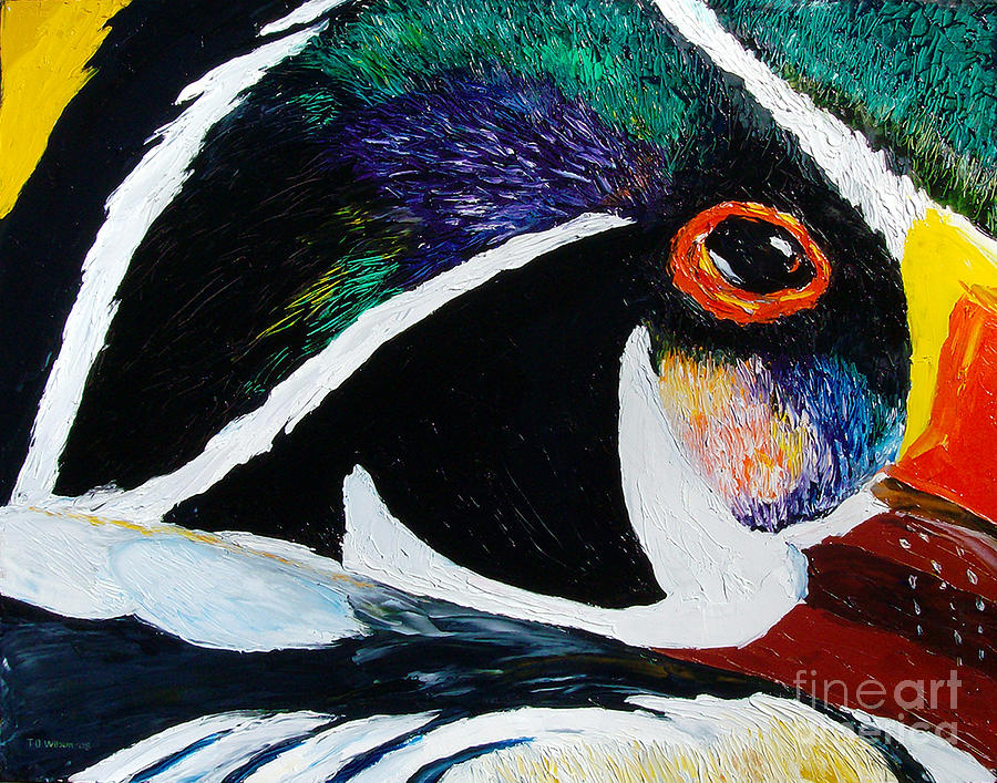 Duck Painting - Wood Duck - Reflections 2 by TD Wilson