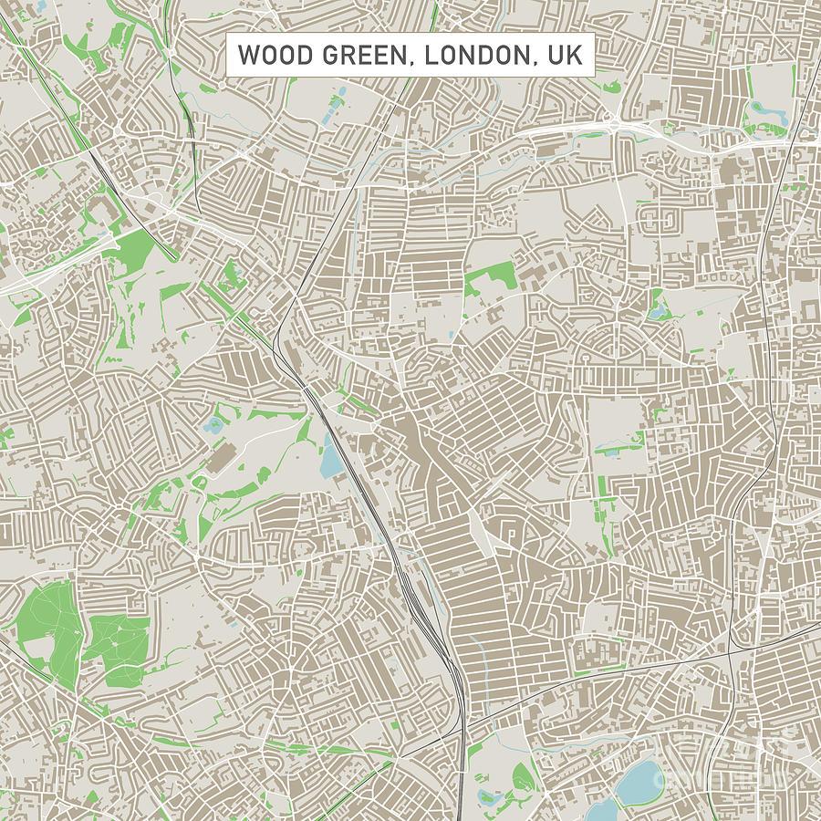 wood green digital art wood green london uk city street map by frank ramspott