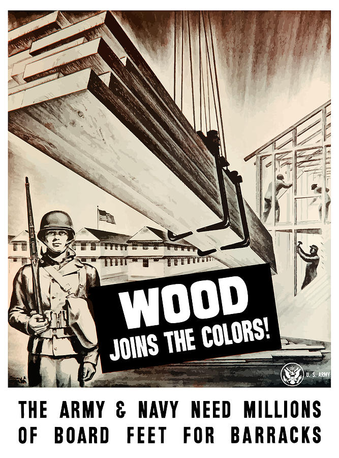 Ww2 Painting - Wood Joins The Colors - Ww2 by War Is Hell Store