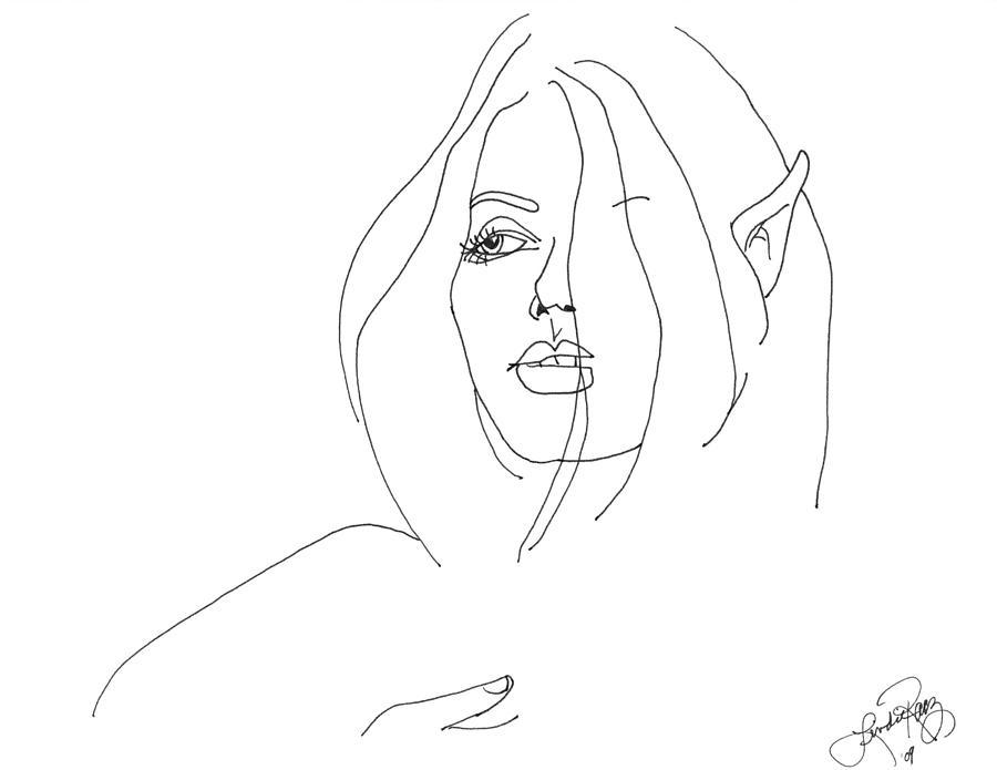 Ink Drawing - Wood Nymph by Lindie Racz