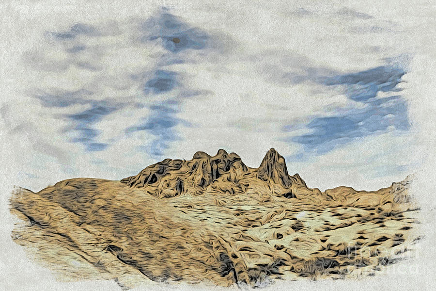 Woodblock Printing Rocks, Mountains And Sky At Alabama Hills, T
