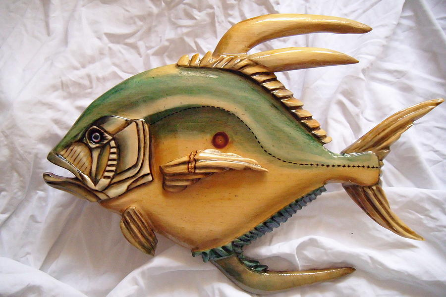Wood Painting - Wooden African Pompano Number Three by Lisa Ruggiero