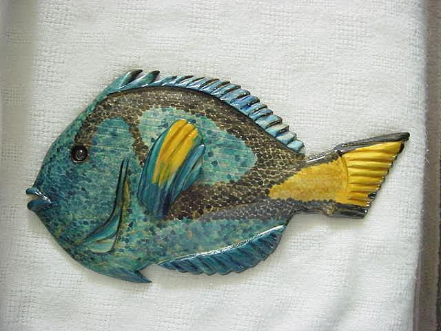 Marine Life Relief - Wooden Blue Tang-sold by Lisa Ruggiero