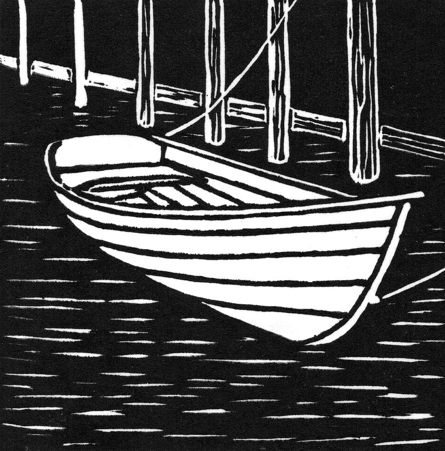 Wooden Boat Linocut Drawing By Ed Einboden