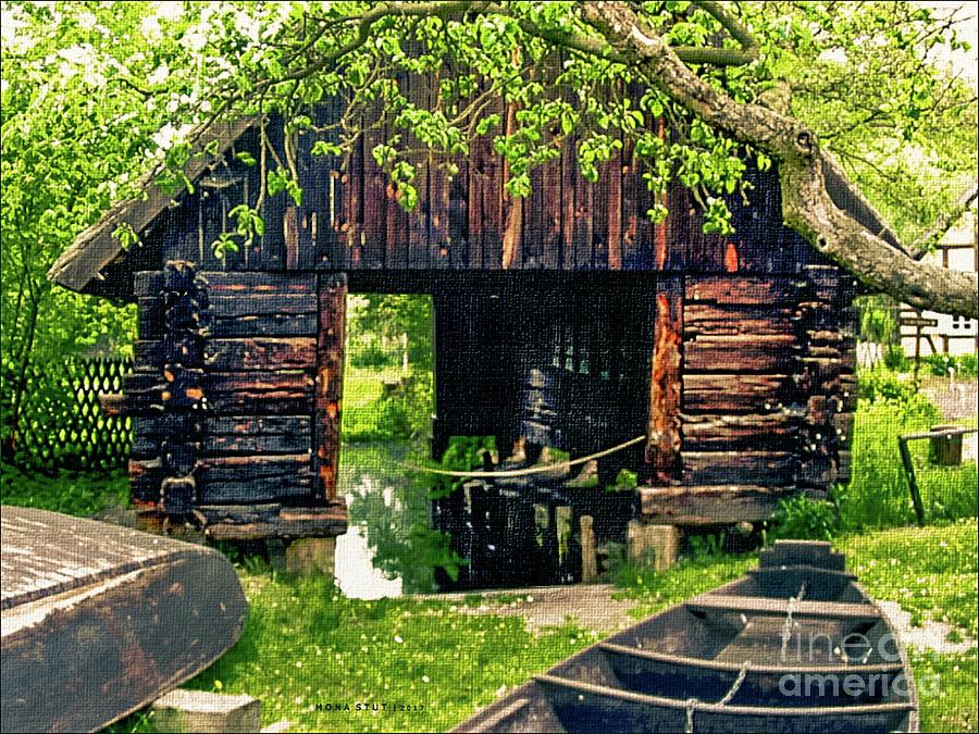 Wooden Boats House Reflections Digital Art