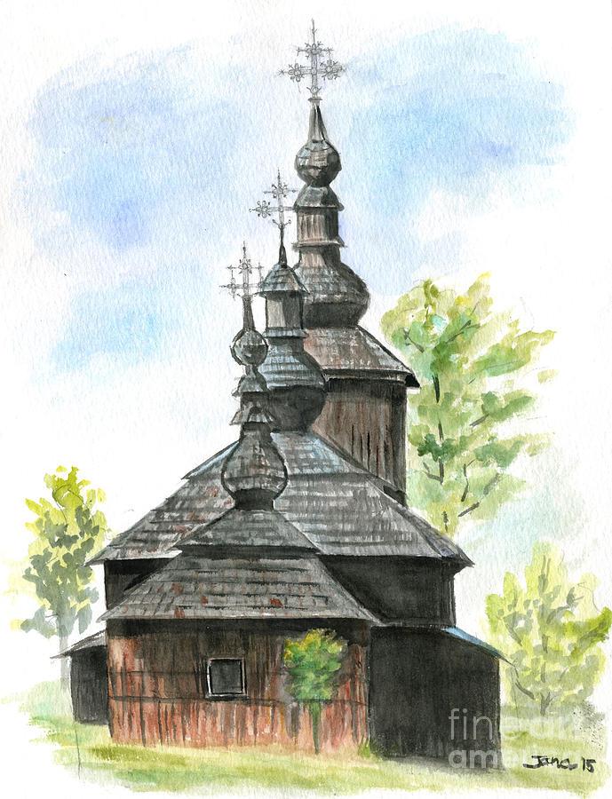 Church Painting - Wooden Church by Jana Goode
