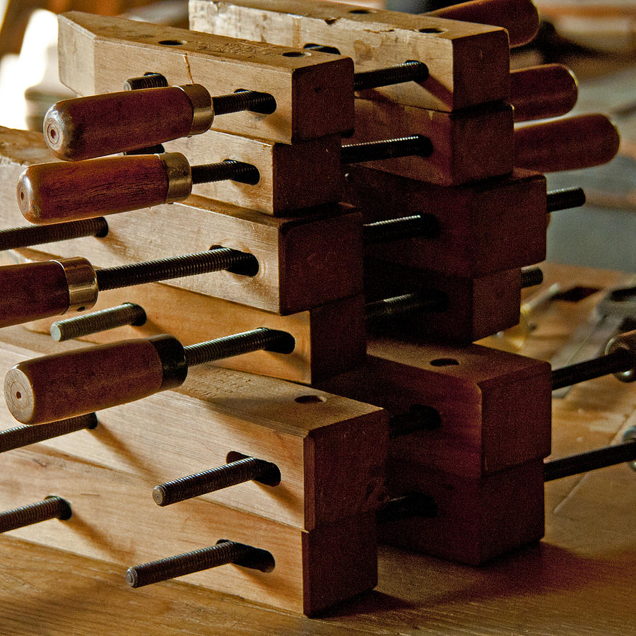 Tools Photograph - Wooden Clamps by Wilma  Birdwell