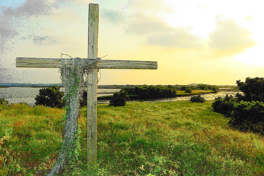 Cedar Key Photograph - Wooden Cross 1 by Sheri McLeroy