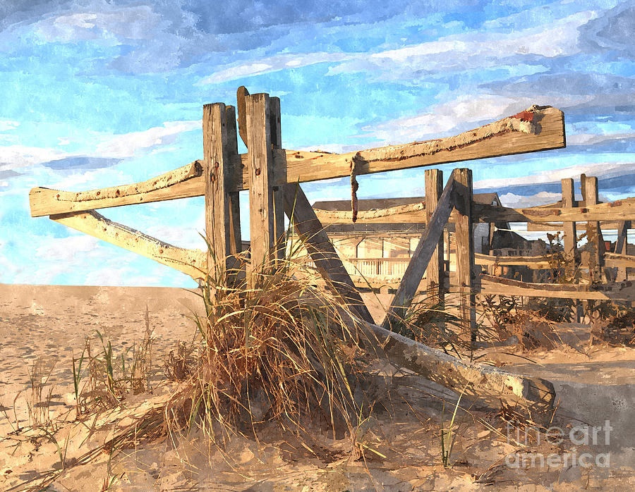 Painterly Photograph - Wooden Cross Falmouth Beach by Bryan Attewell