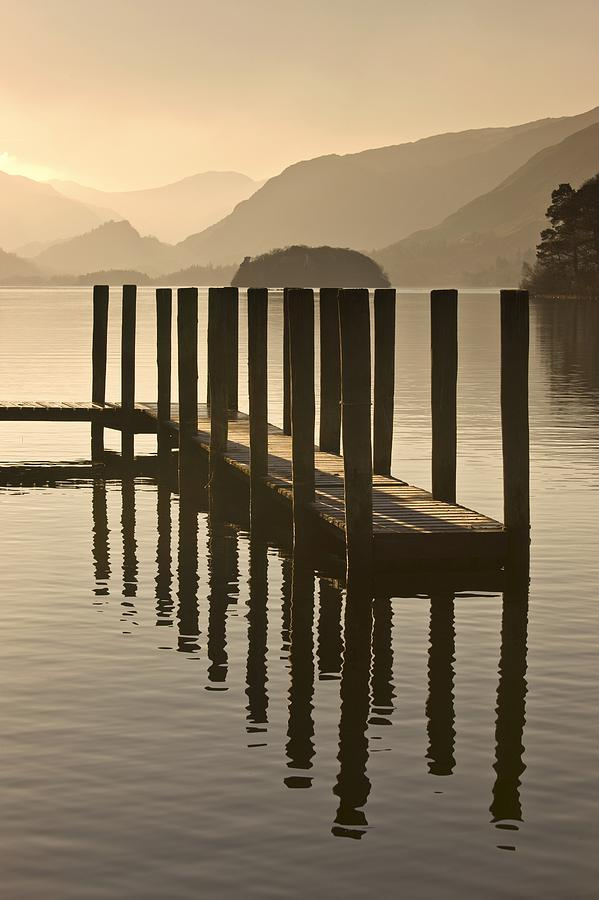 Calm Photograph - Wooden Dock In The Lake At Sunset by John Short