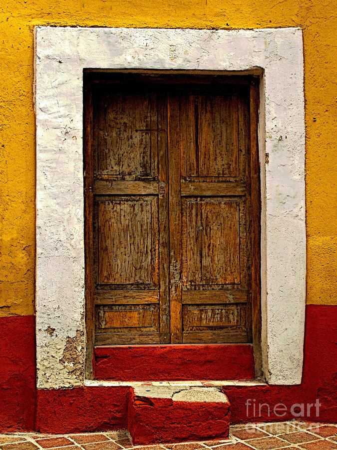 Darian Day Photograph - Wooden Door With White Trim by Mexicolors Art Photography