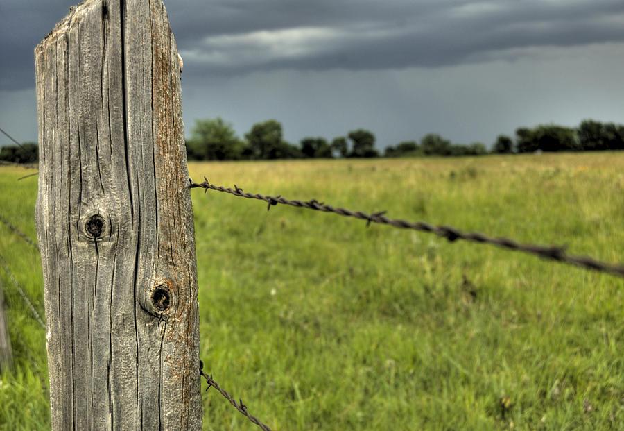 Landscape Photograph - Wooden Fence Post by Andrea LaRayne Etzel