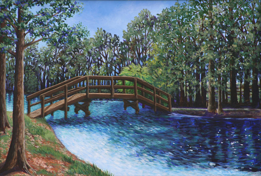 Landscape Painting - Wooden Foot Bridge At The Park by Penny Birch-Williams