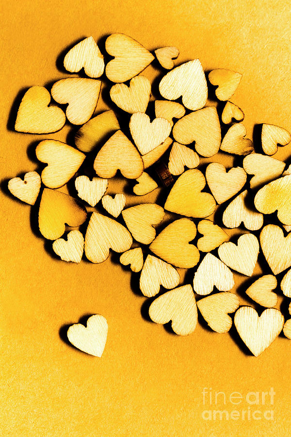 Connection Photograph - Wooden Hearts With Sentimental Single by Jorgo Photography - Wall Art Gallery