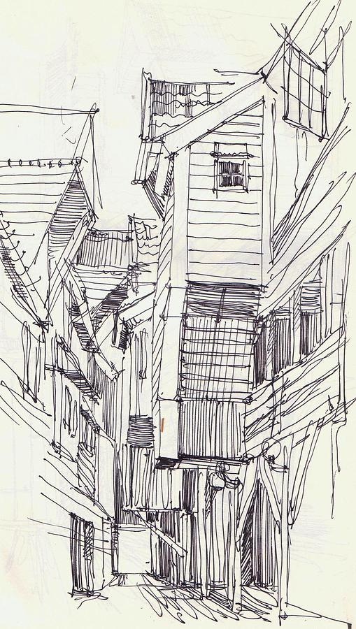 Bergen Drawing   Wooden Houses By Ievgeniia Samoilenko