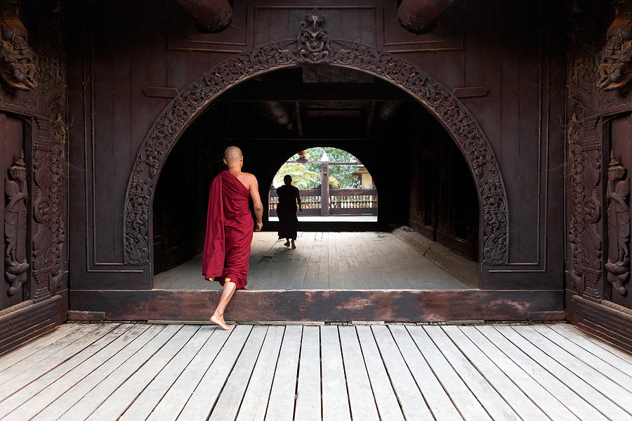Asia Photograph - Wooden Monastery by Marji Lang