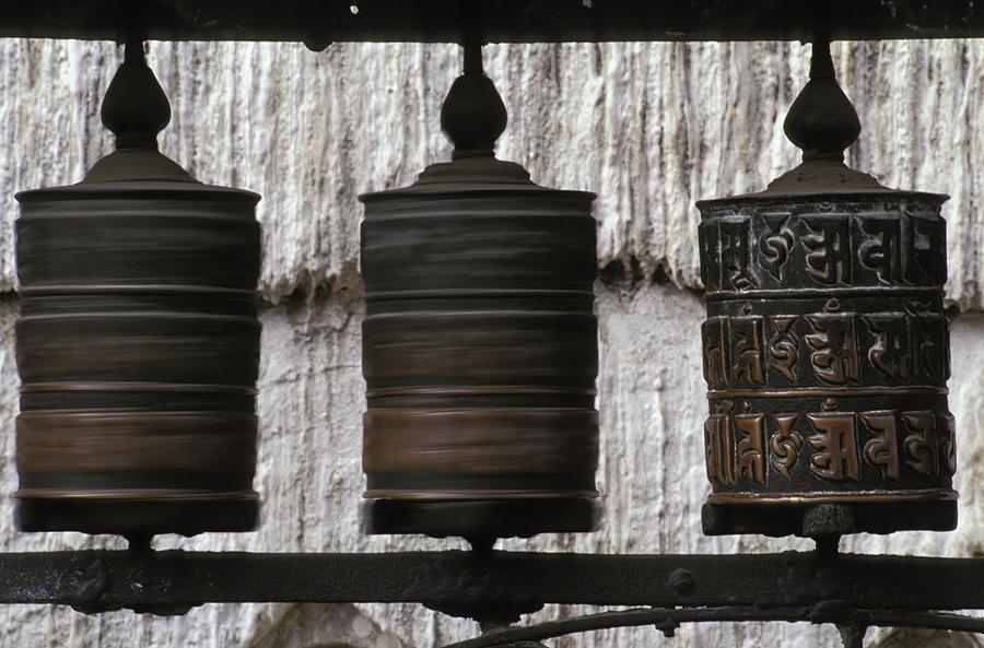 Altitude Photograph - Wooden Prayer Wheels by Sean White
