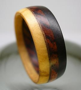 Wood Jewelry - Wooden Ring - Olive Ebony Rosewood Walnut by Keith Krautle