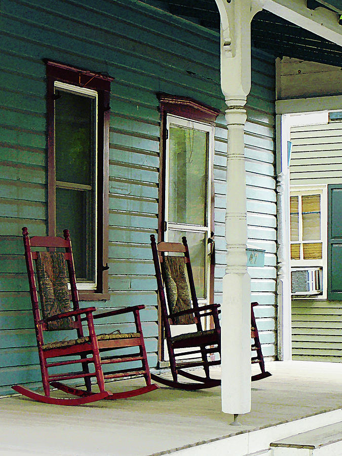 Porch Photograph   Wooden Rocking Chairs On Porch By Susan Savad