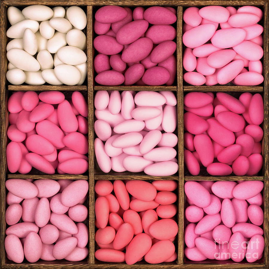 Almonds Photograph - Wooden Storage Box Filled With Pink Sugared Almonds. by Jane Rix