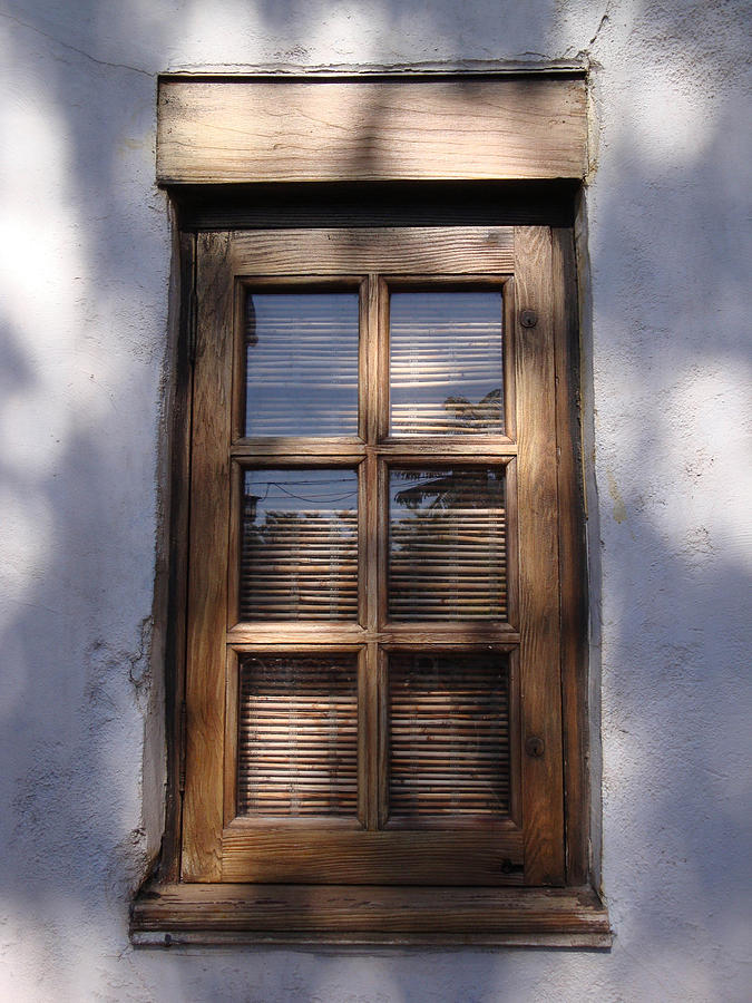 Window Photograph - Wooden Window In The Shadows by Kim Chernecky