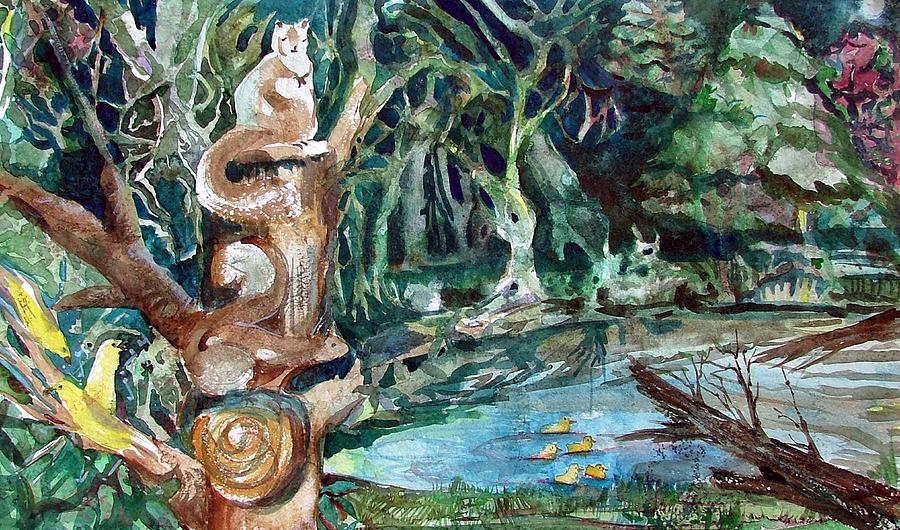 Squirrels Painting - Woodland Critters by Mindy Newman