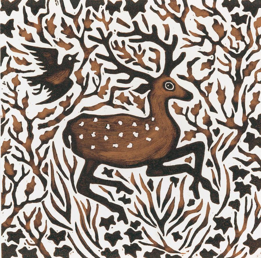 Deer Painting - Woodland Deer by Nat Morley