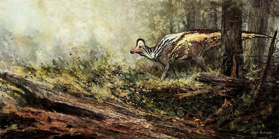 Dinosaur Painting - Woodland Encounter - Corythosaurus by Angie Rodrigues