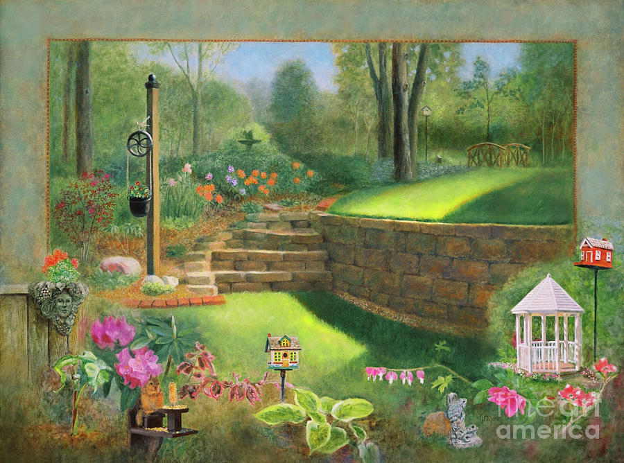 Gazebo Painting - Woodland Garden In A Small Town by Nancy Lee Moran