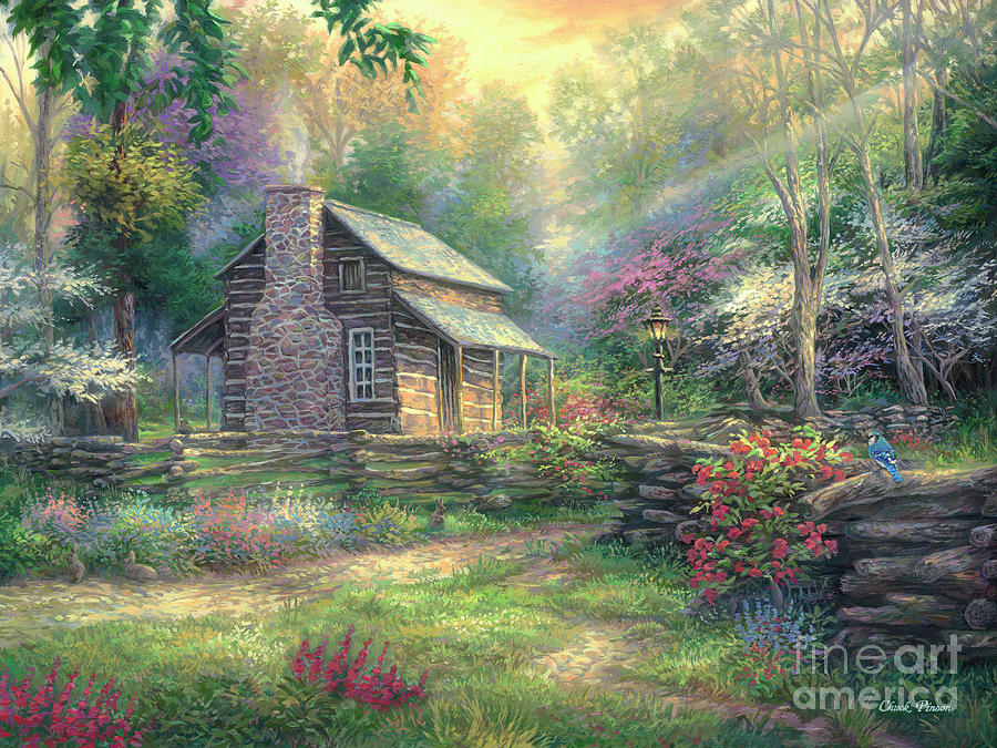 Old Painting - Woodland Oasis by Chuck Pinson