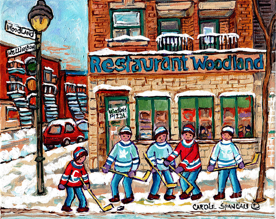 WOODLAND PIZZA MONTREAL VERDUN WINTER SCENE PAINTING FOR SALE ORIGINAL HOCKEY ARTWORK C SPANDAU ART by CAROLE SPANDAU