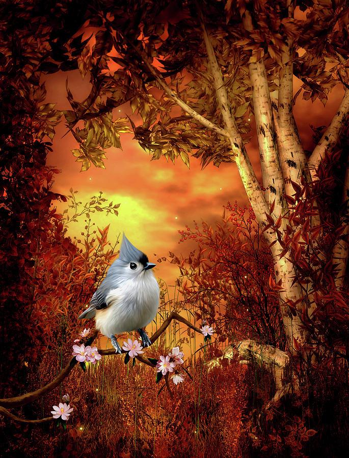 Titmouse Digital Art - Titmouse Woodland scene  by John Junek