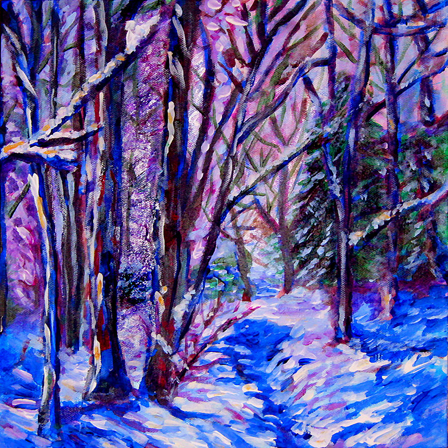 Landscape Painting - Woodland Snow by Laura Heggestad