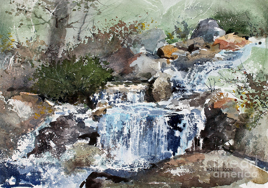 Woodland Stream Painting by Monte Toon