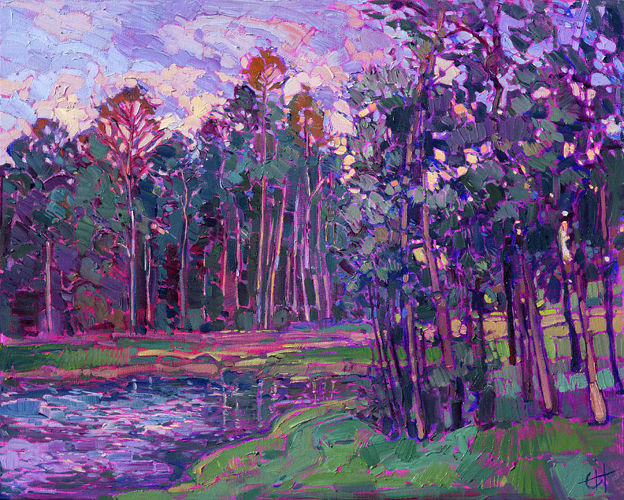 The Woodlands Painting - Woodlands Lake by Erin Hanson