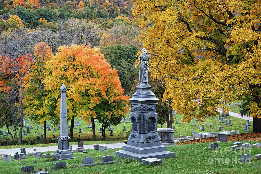 Woodlawn Cemetery Winona MN Fall Colors by Kari Yearous