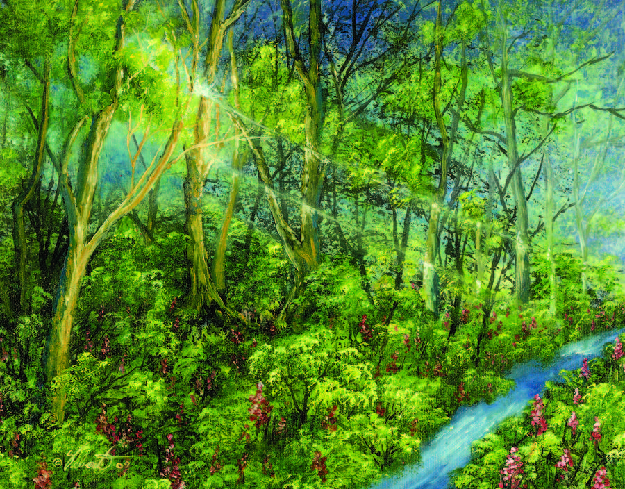 Landscape Painting - Woods By A Stream by Dennis Vebert
