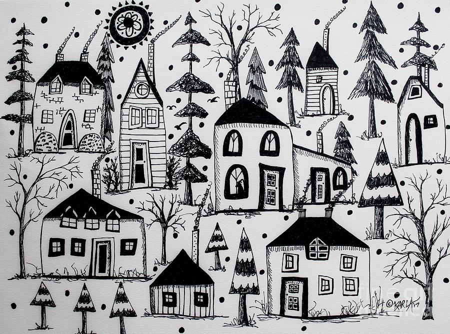 Sketches Drawing - Woodsy Village by Karla Gerard