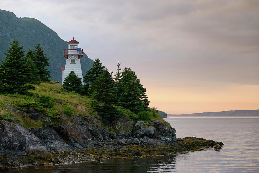 Woody Point Lighthouse - Bonne Bay Newfoundland at Sunset by Art Whitton