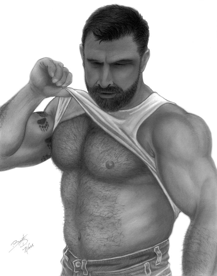Men Drawing - Woof by Brent  Marr