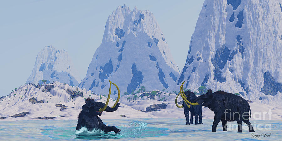 Woolly Mammoth In Danger Painting