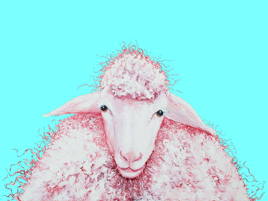 Woolly sheep on turquoise by Jan Matson