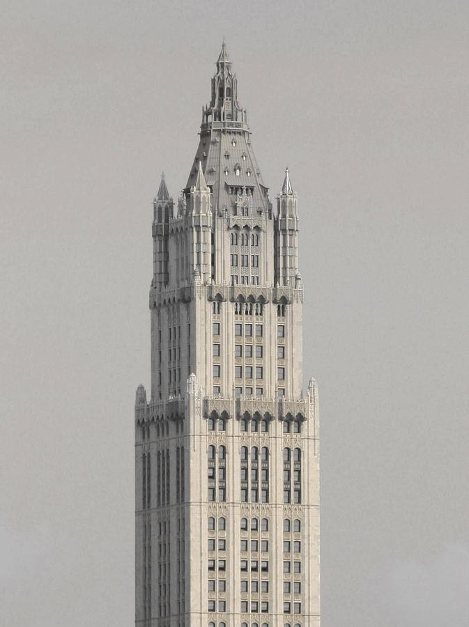 Woolworth Building Photograph - Woolworth  Black And White Two by Christopher Kirby