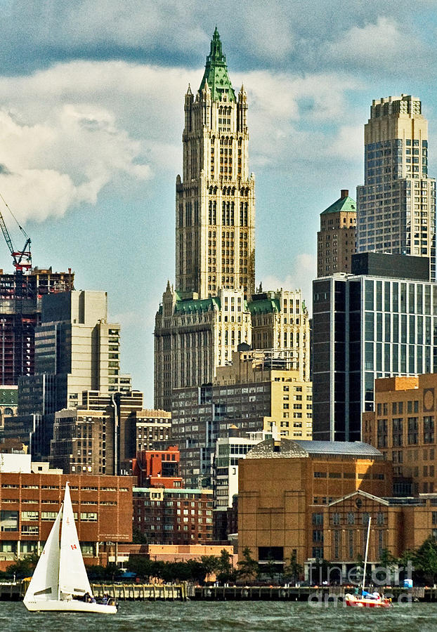Woolworth Building Photograph - Woolworth Building From Hudson River by Allan Einhorn
