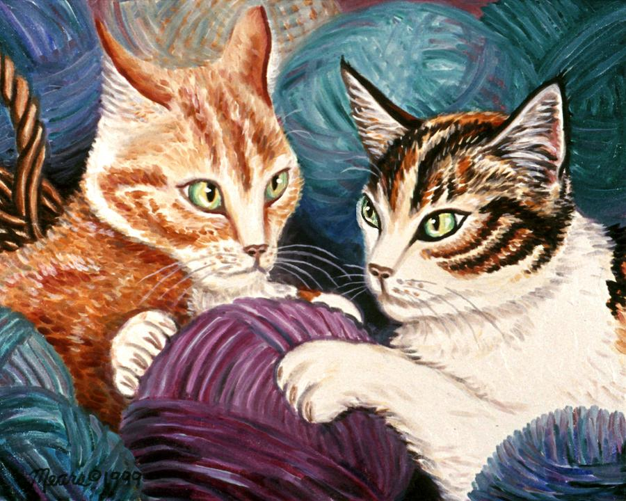 Cats Painting - Wooly Rollick by Linda Mears